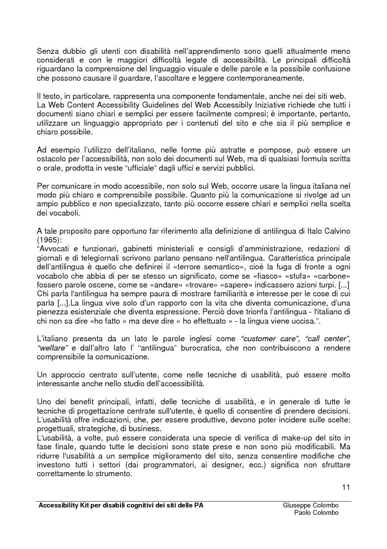 Anteprima della tesi: Accessibility Kit: Valutazione dell'Accessibilità dei siti web della Pubblica Amministrazione per gli utenti con disabilità cognitive, Pagina 7