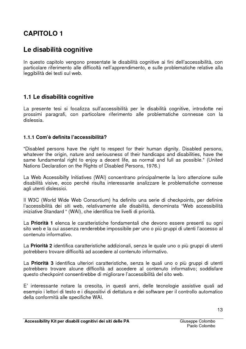Anteprima della tesi: Accessibility Kit: Valutazione dell'Accessibilità dei siti web della Pubblica Amministrazione per gli utenti con disabilità cognitive, Pagina 9