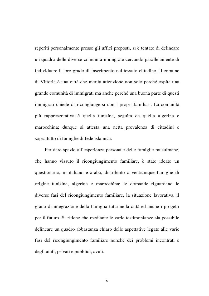 Anteprima della tesi: Immigrazione e ricongiungimento familiare. Uno studio sulla comunità islamica di Vittoria, Pagina 5