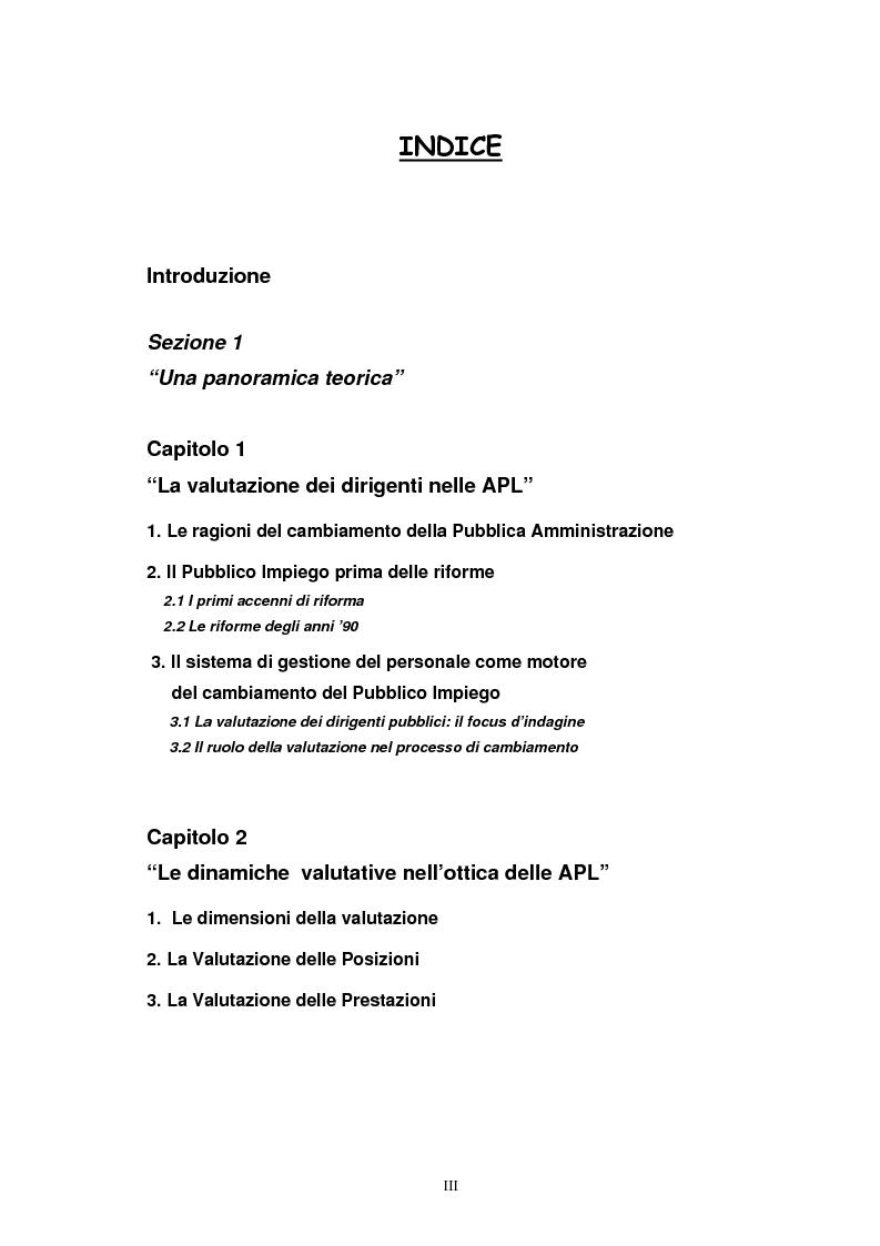 Indice della tesi: La valutazione dei Dirigenti nella P.A. locale: esperienze a confronto, Pagina 1