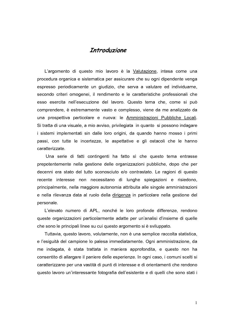 Anteprima della tesi: La valutazione dei Dirigenti nella P.A. locale: esperienze a confronto, Pagina 1