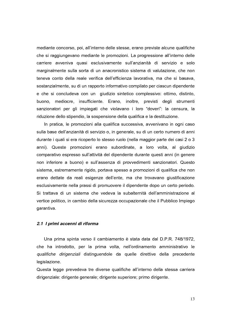 Anteprima della tesi: La valutazione dei Dirigenti nella P.A. locale: esperienze a confronto, Pagina 13