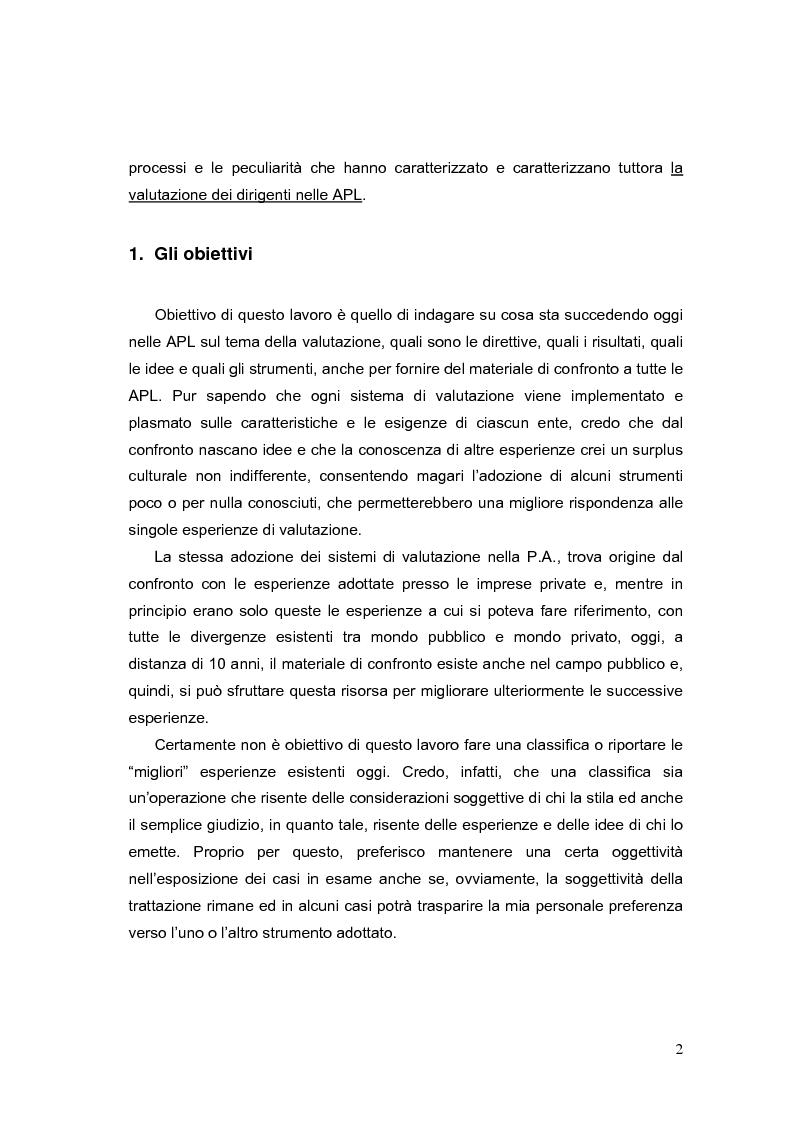 Anteprima della tesi: La valutazione dei Dirigenti nella P.A. locale: esperienze a confronto, Pagina 2