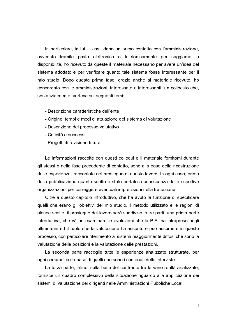 Anteprima della tesi: La valutazione dei Dirigenti nella P.A. locale: esperienze a confronto, Pagina 4