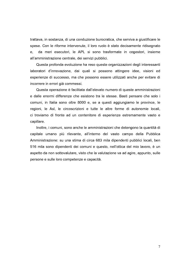 Anteprima della tesi: La valutazione dei Dirigenti nella P.A. locale: esperienze a confronto, Pagina 7