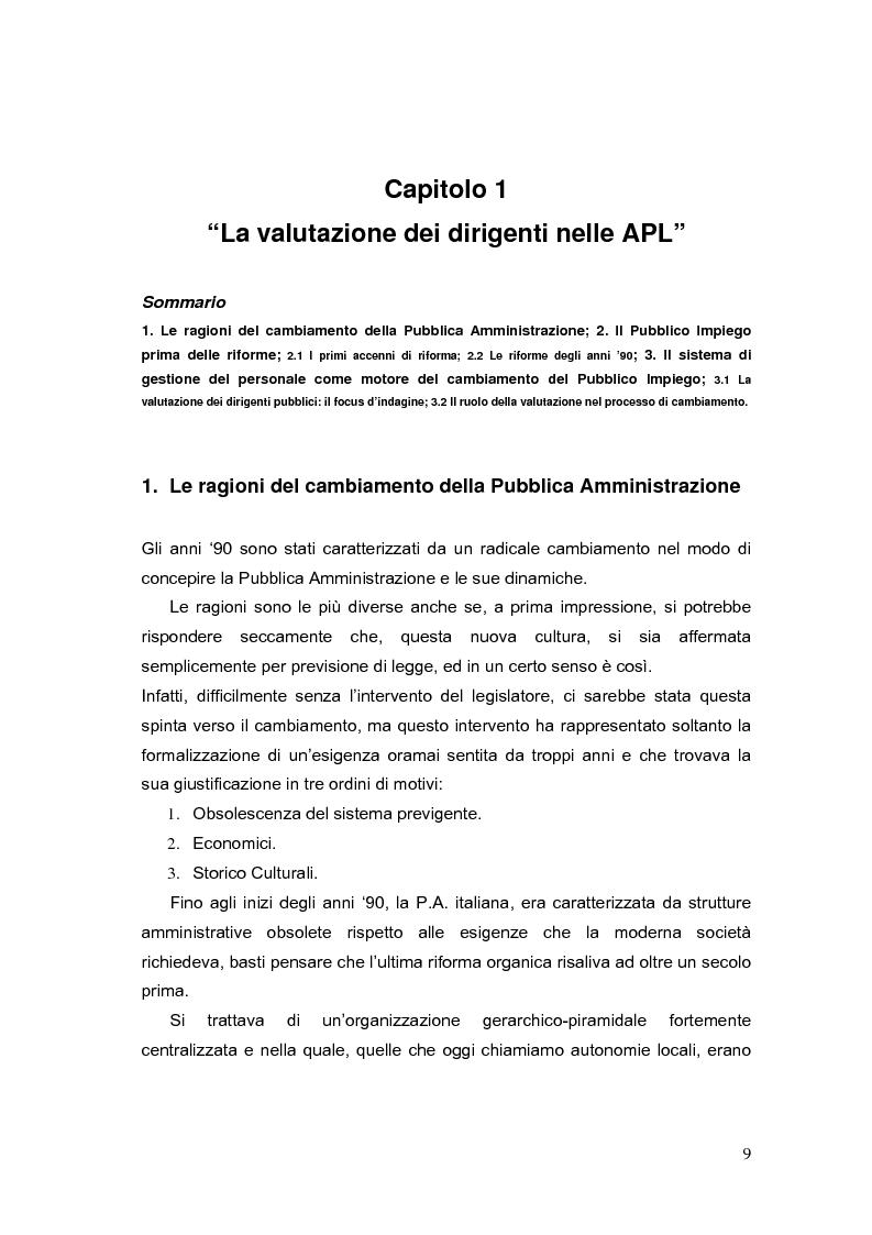 Anteprima della tesi: La valutazione dei Dirigenti nella P.A. locale: esperienze a confronto, Pagina 9
