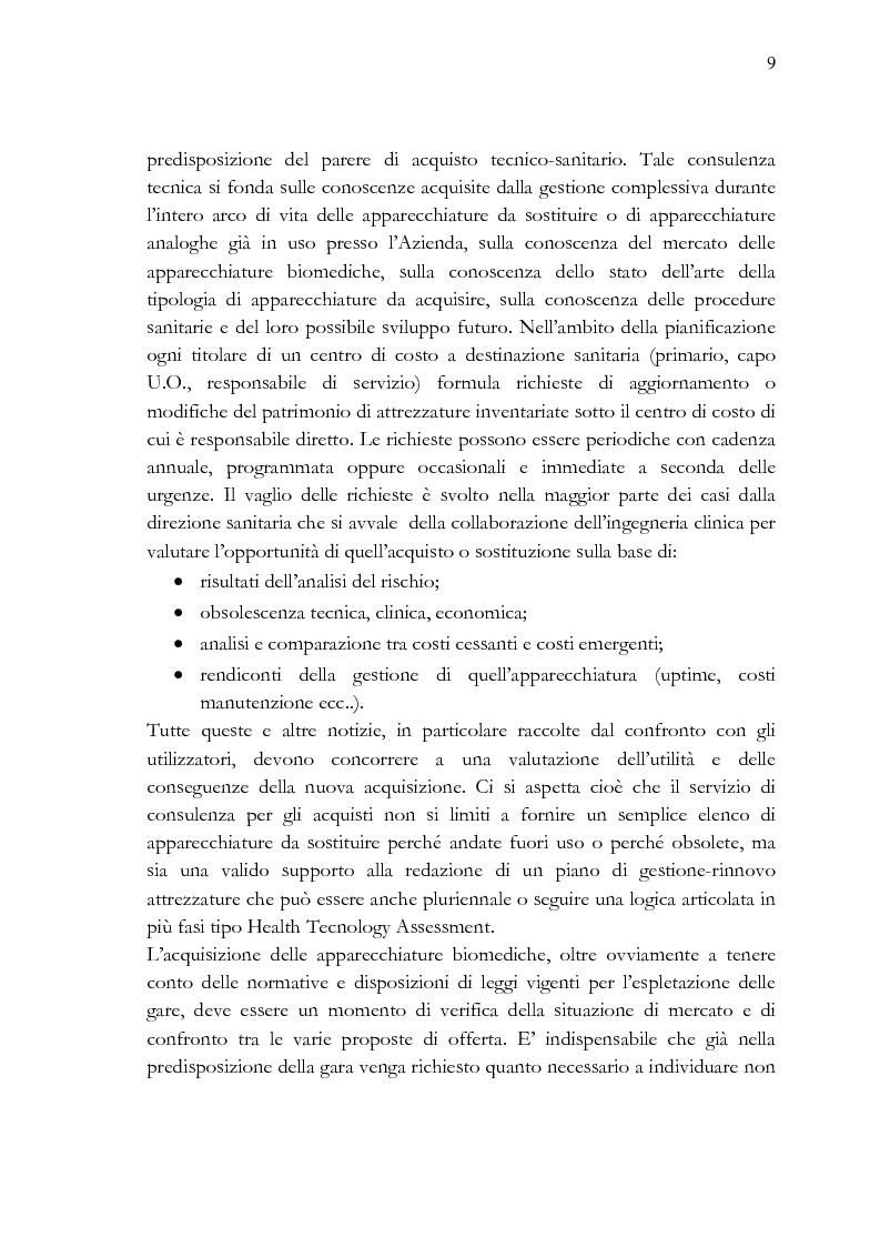 Anteprima della tesi: Analisi e stesura delle specifiche tecniche ai fini del miglior acquisto di sistemi medicali coerentemente con la 2004/18/CE, Pagina 9