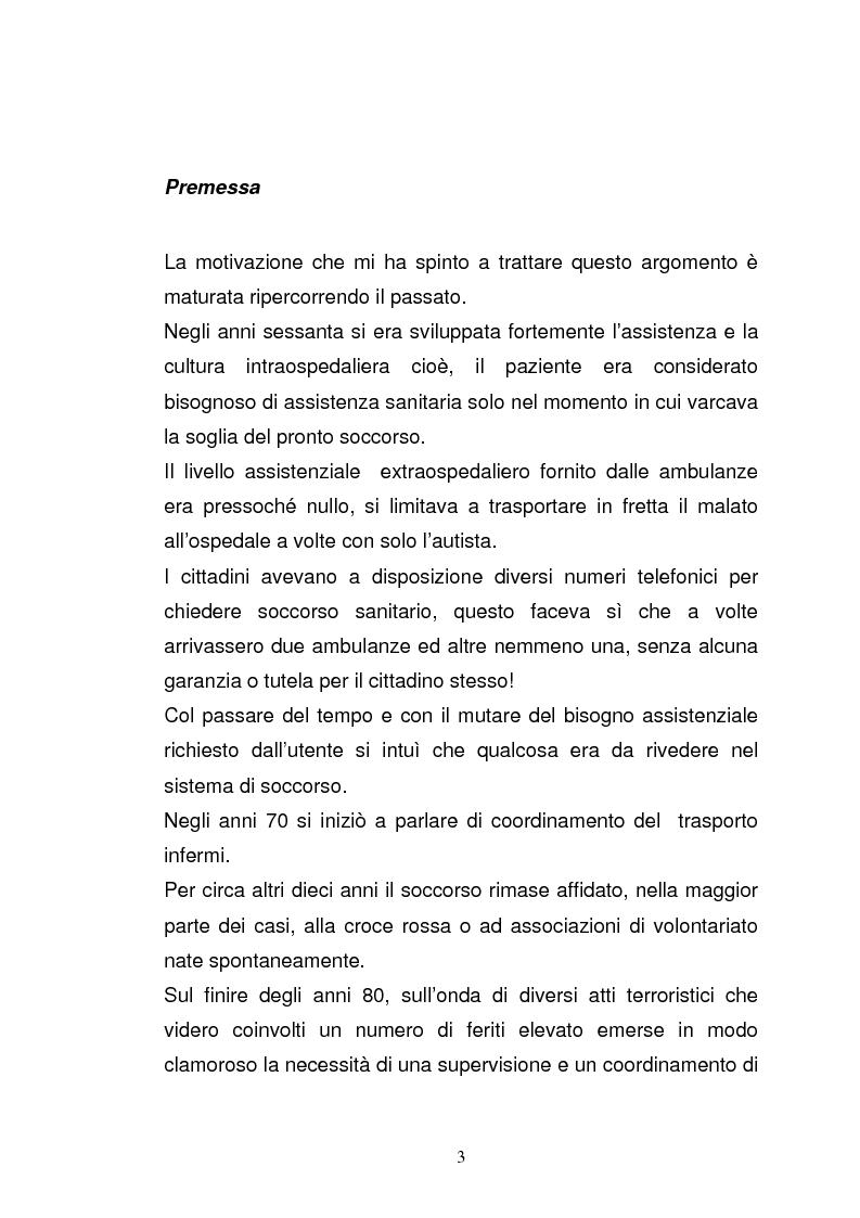 """Anteprima della tesi: Ruolo del coordinatore nella realizzazione di una rete tecnologica unica delle centrali operative """"118"""" della Regione Emilia Romagna, Pagina 1"""