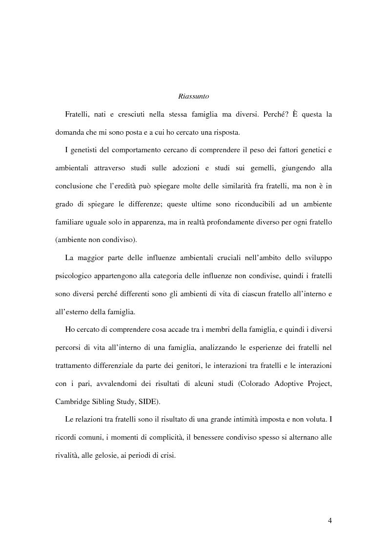 Anteprima della tesi: Fratelli: nati e cresciuti nella stessa famiglia ma diversi, Pagina 1