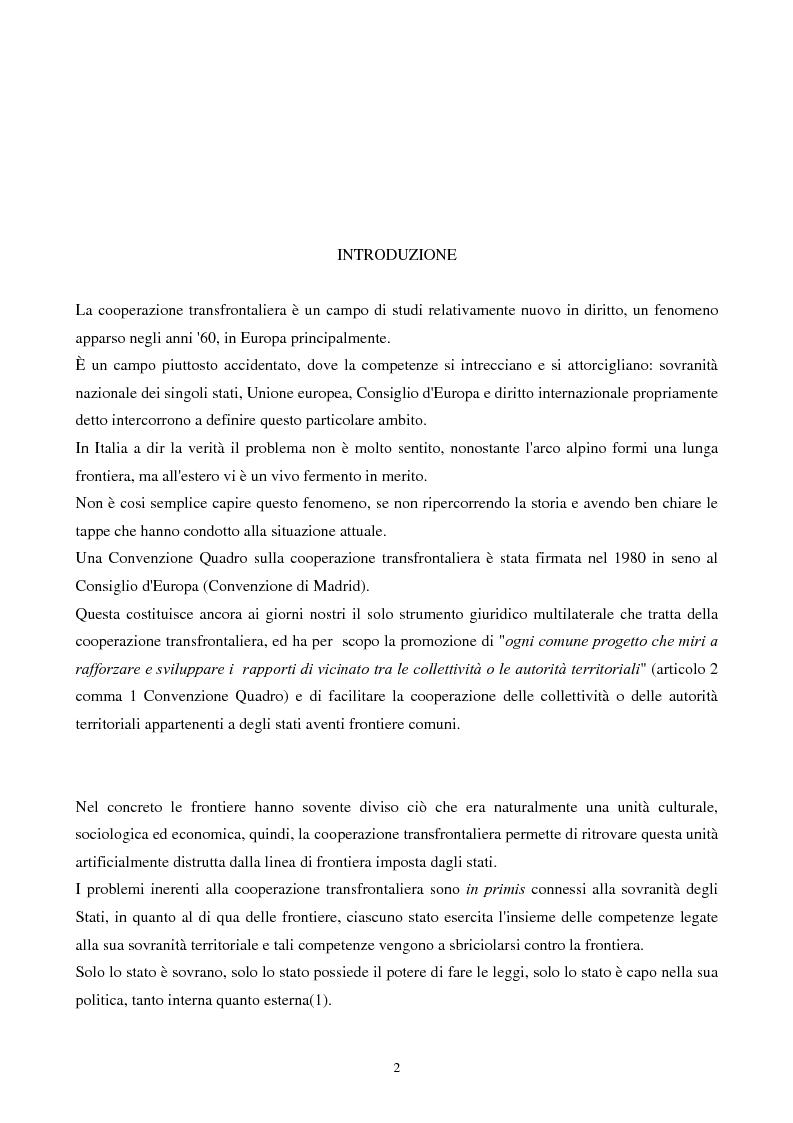 Anteprima della tesi: Gli strumenti giuridici per la cooperazione transfrontaliera italo-francese, Pagina 1