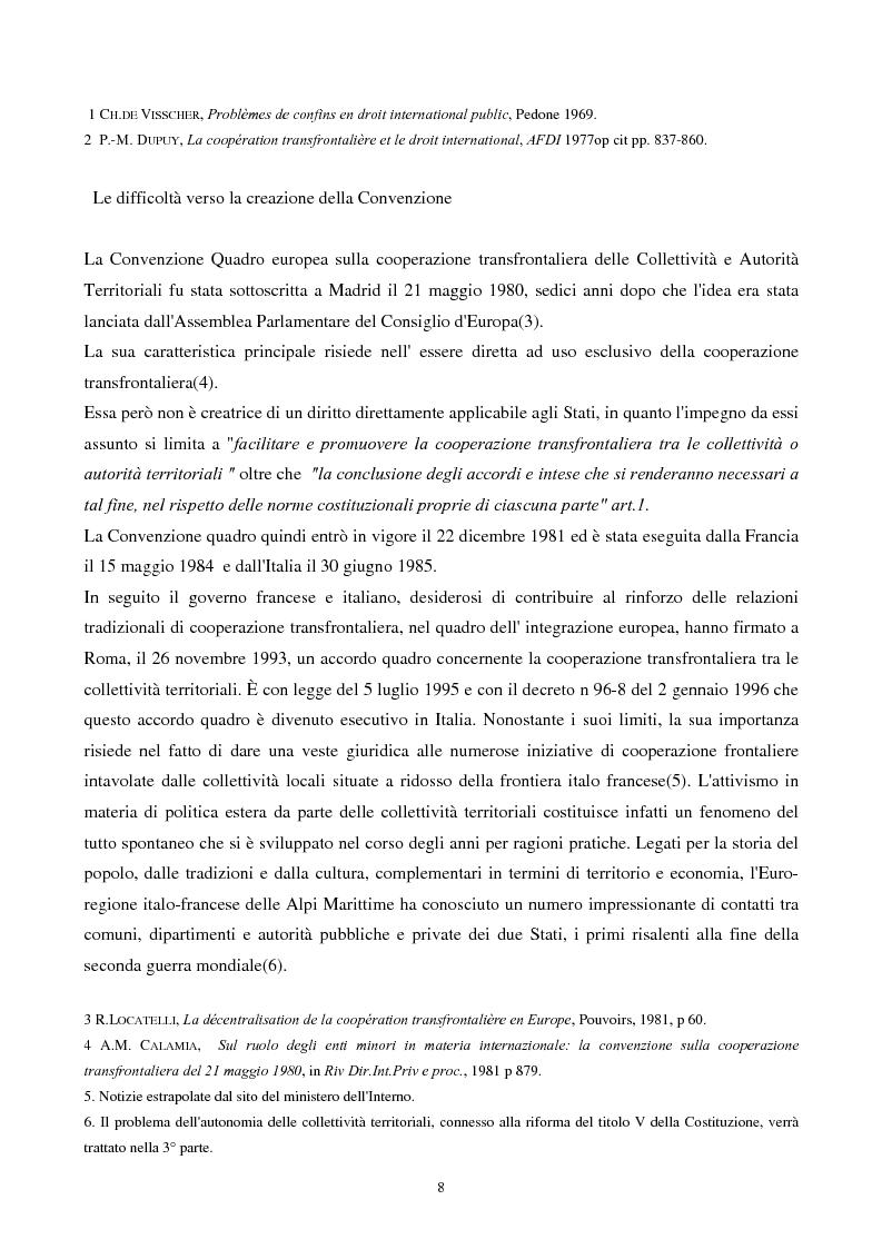 Anteprima della tesi: Gli strumenti giuridici per la cooperazione transfrontaliera italo-francese, Pagina 7