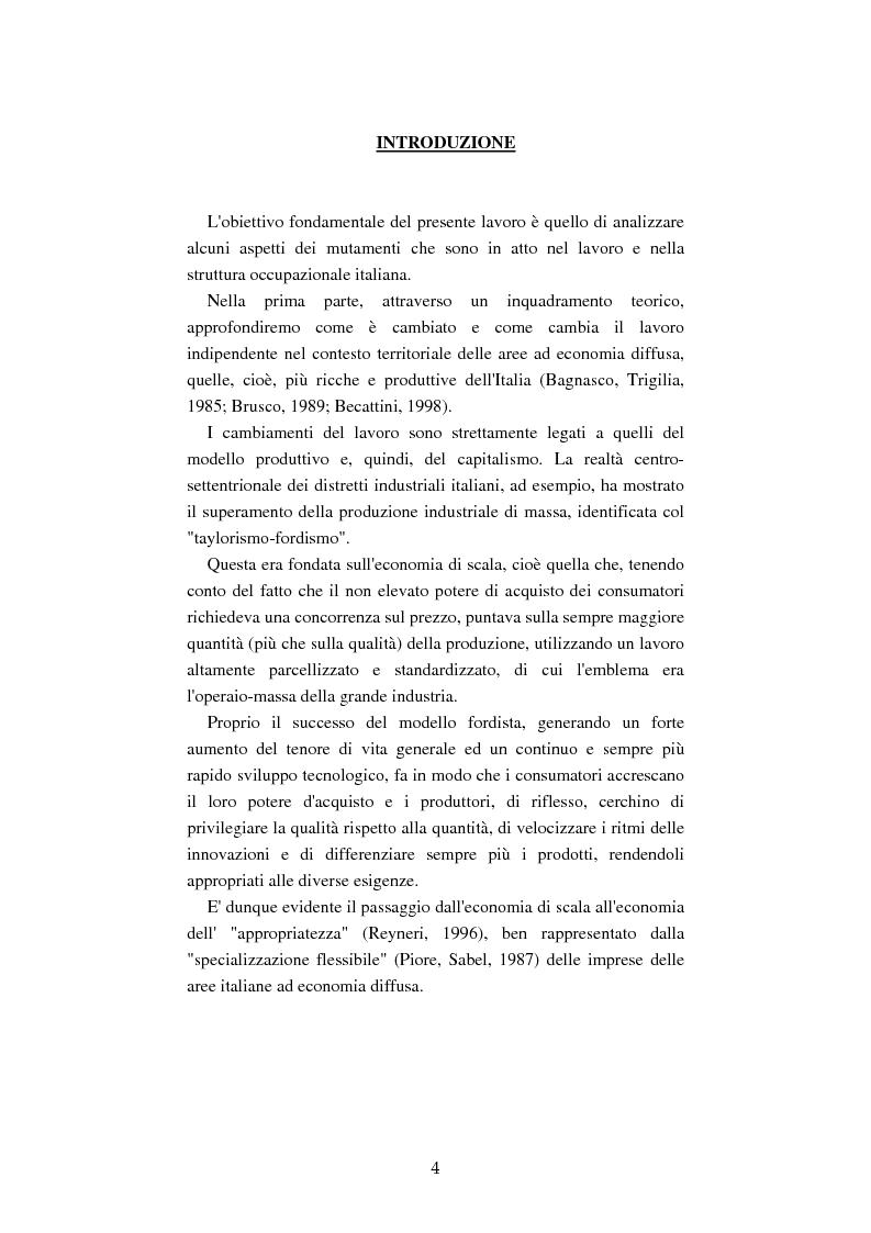 Anteprima della tesi: Mutamenti del lavoro tra dipendenza e autonomia. Un inquadramento teorico ed una ricerca in Emilia Romagna, Pagina 1
