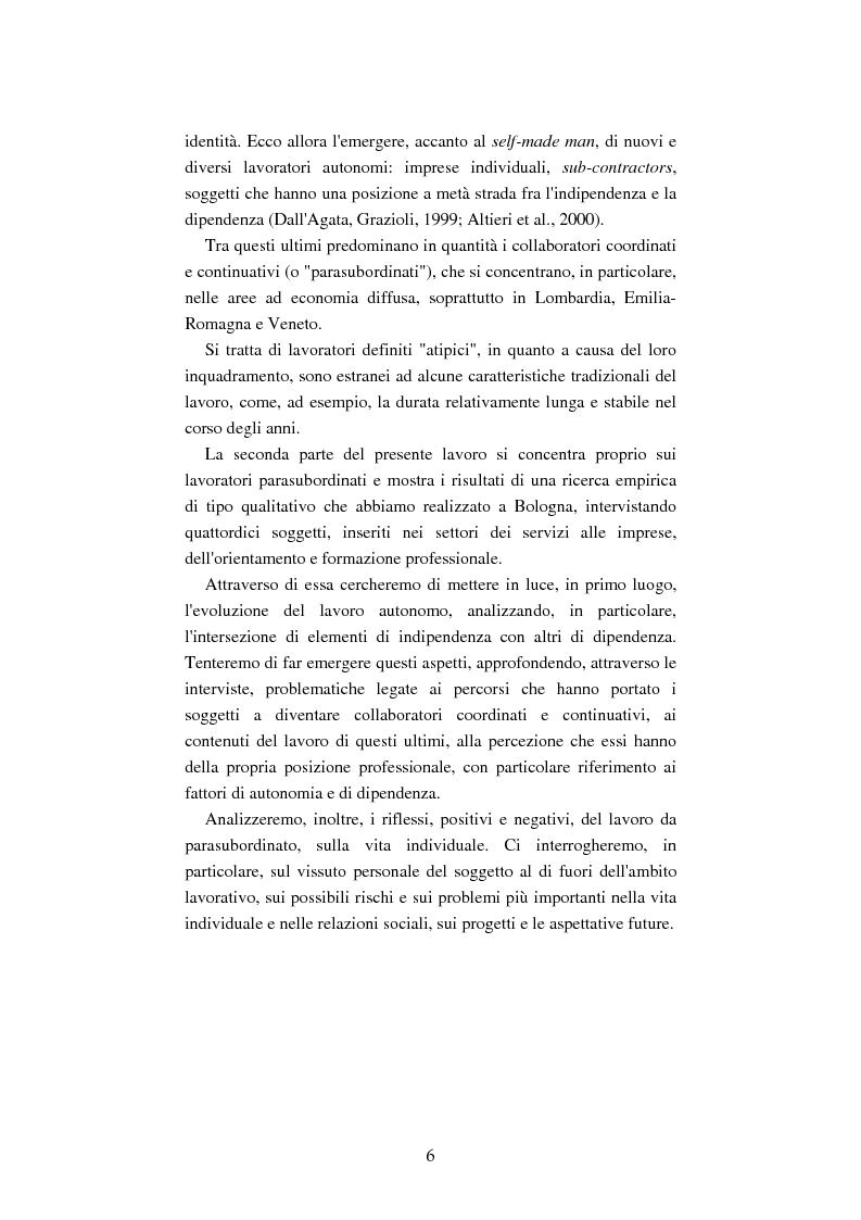 Anteprima della tesi: Mutamenti del lavoro tra dipendenza e autonomia. Un inquadramento teorico ed una ricerca in Emilia Romagna, Pagina 3