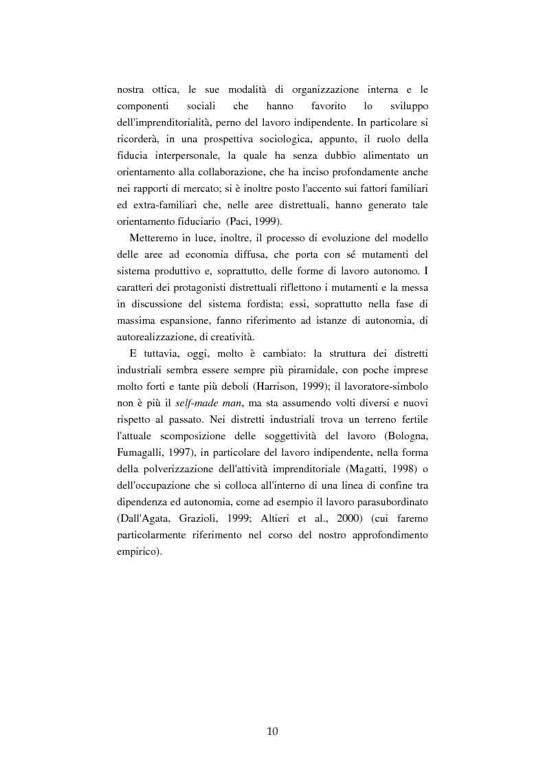 Anteprima della tesi: Mutamenti del lavoro tra dipendenza e autonomia. Un inquadramento teorico ed una ricerca in Emilia Romagna, Pagina 7