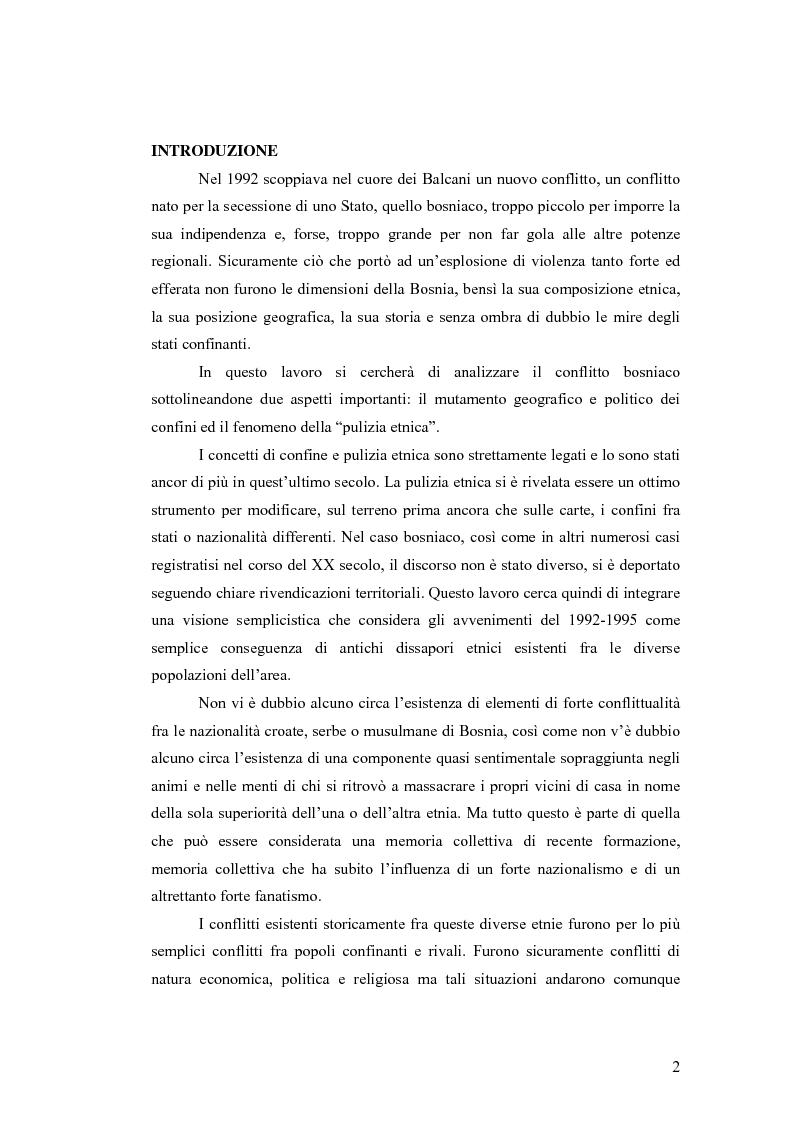 Anteprima della tesi: Il conflitto bosniaco. Fra confini e pulizia etnica., Pagina 1