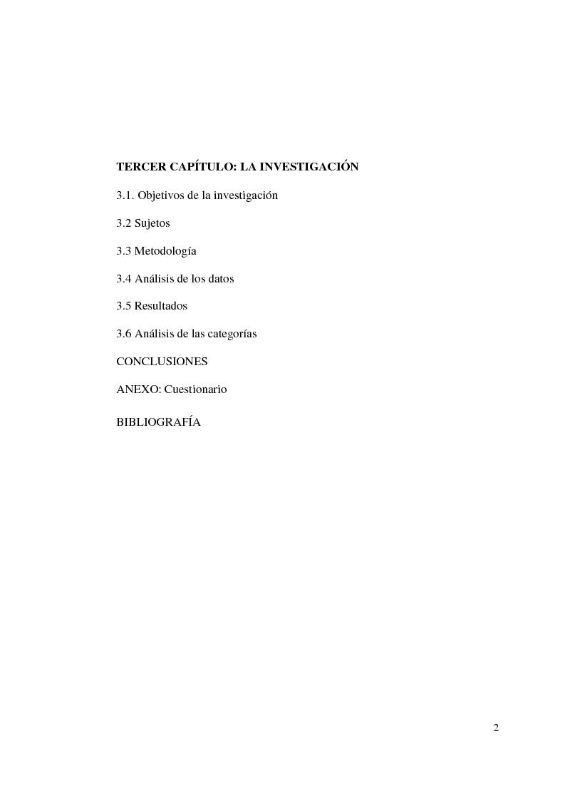 Indice della tesi: Autismo y vivencias familiares, Pagina 2