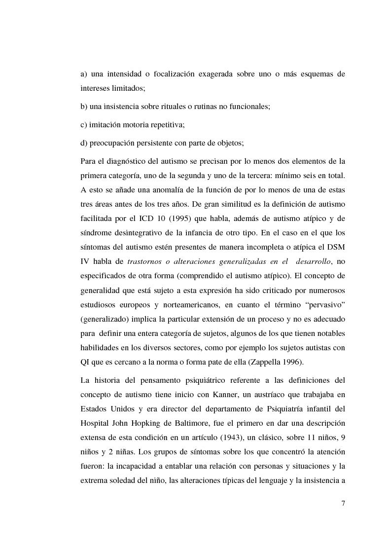 Anteprima della tesi: Autismo y vivencias familiares, Pagina 5