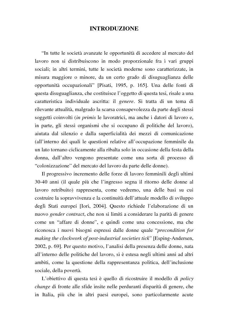 Anteprima della tesi: Le politiche del lavoro in un'ottica di genere, Pagina 1
