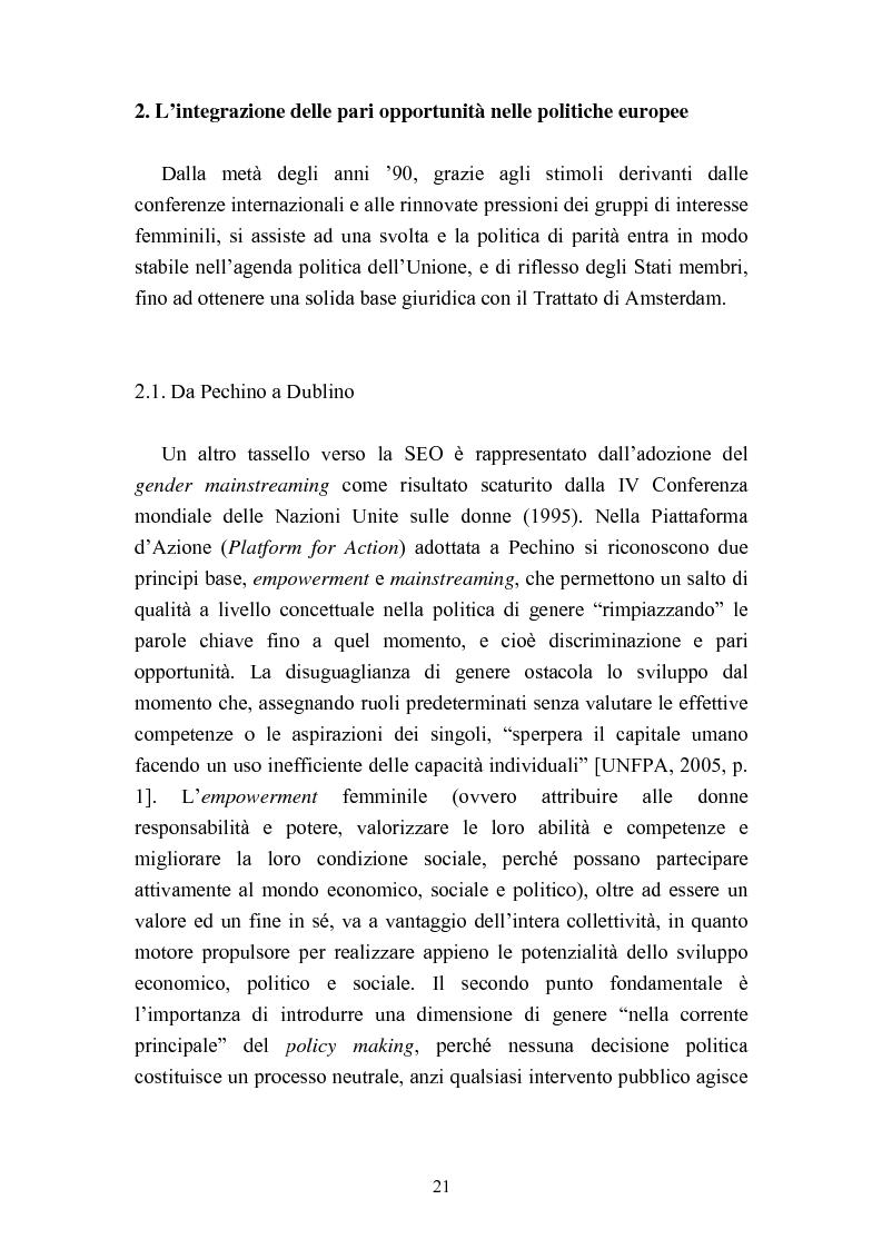 Anteprima della tesi: Le politiche del lavoro in un'ottica di genere, Pagina 15
