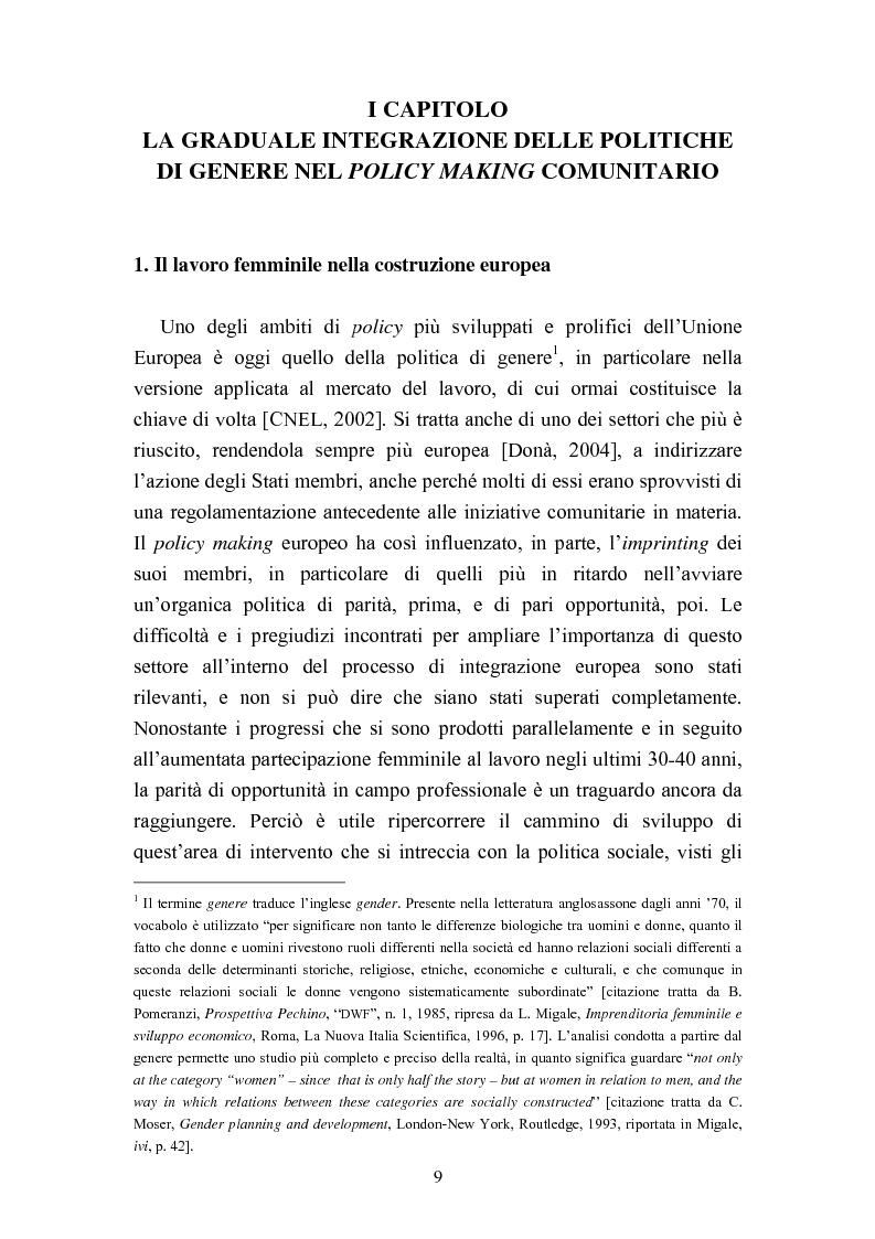 Anteprima della tesi: Le politiche del lavoro in un'ottica di genere, Pagina 3