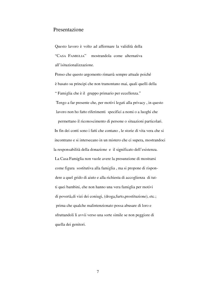 Anteprima della tesi: La Casa Famiglia per minori abbandonati: realtà e prospettive, Pagina 1