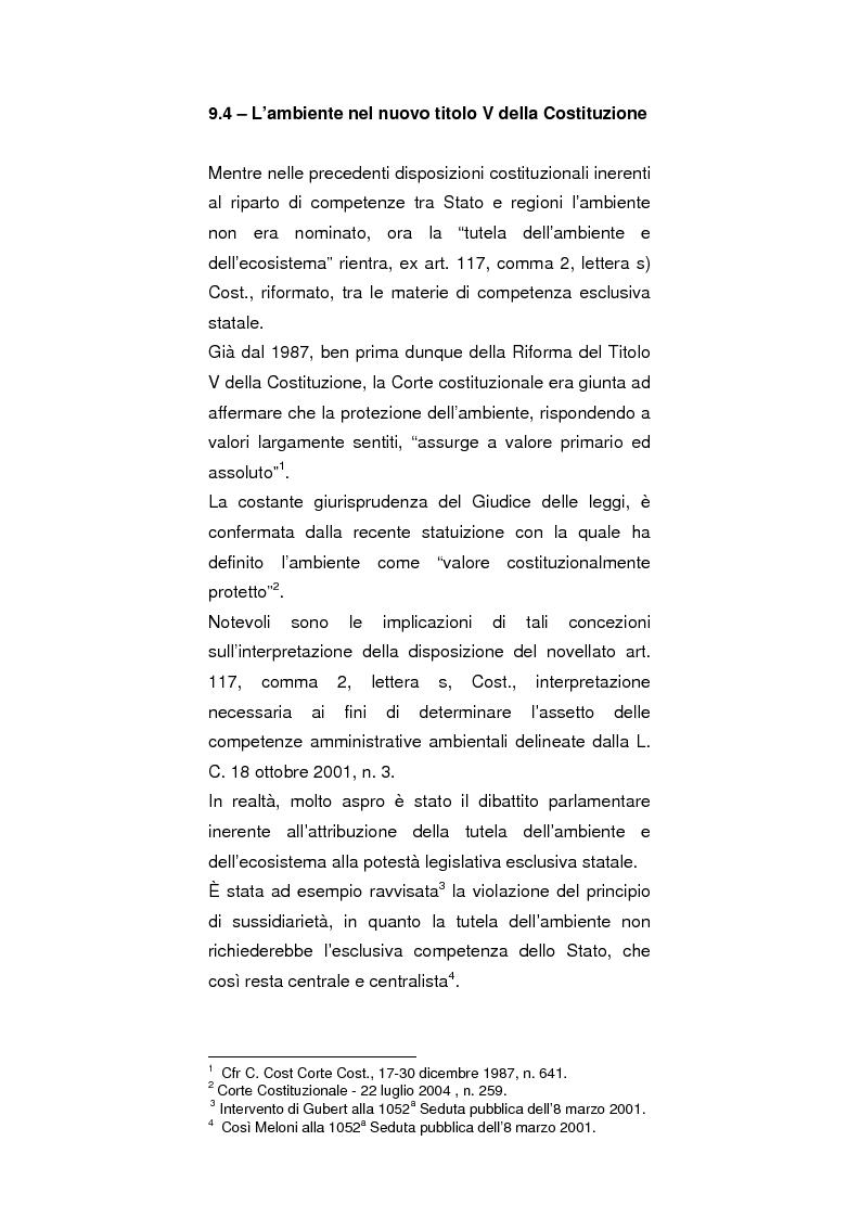 Anteprima della tesi: Regionalismo e protezione dell'ambiente nel dibattito sulla modifica del Titolo V della Costituzione, Pagina 1