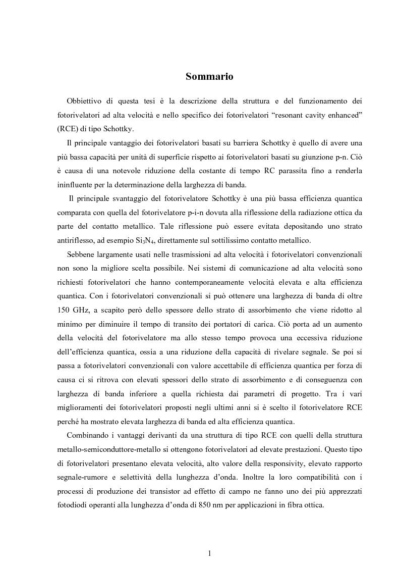Anteprima della tesi: Fotorivelatori a barriera Schottky, Pagina 1
