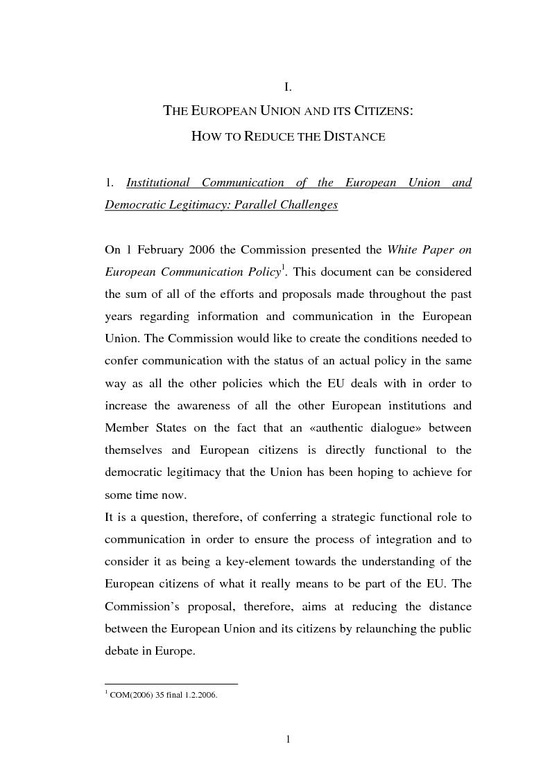 Anteprima della tesi: The Institutional Communication of the European Union, Pagina 3