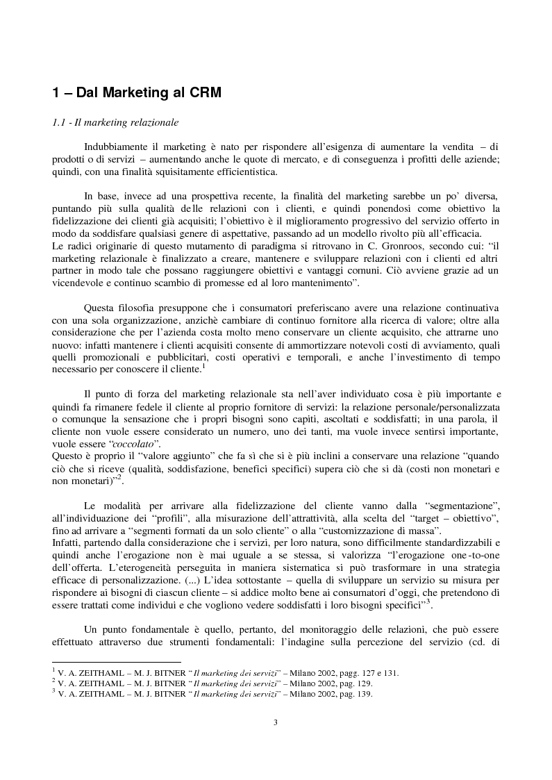 Anteprima della tesi: Crm e multicanalità, Pagina 1
