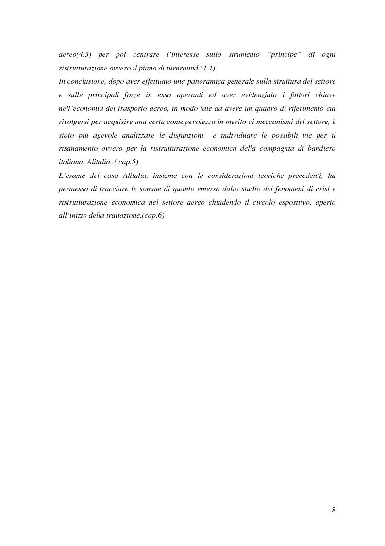 Anteprima della tesi: Fenomeni di crisi e ristrutturazione nel settore aereo: il caso Alitalia, Pagina 3