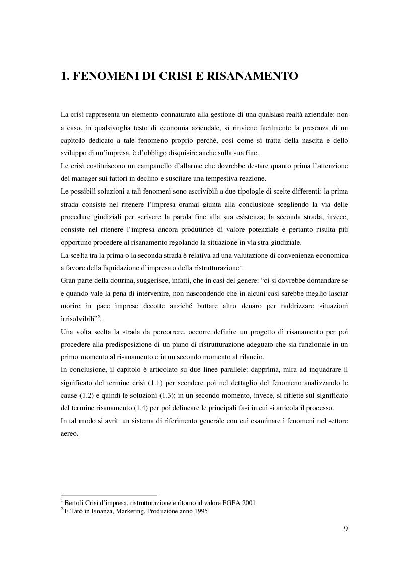 Anteprima della tesi: Fenomeni di crisi e ristrutturazione nel settore aereo: il caso Alitalia, Pagina 4