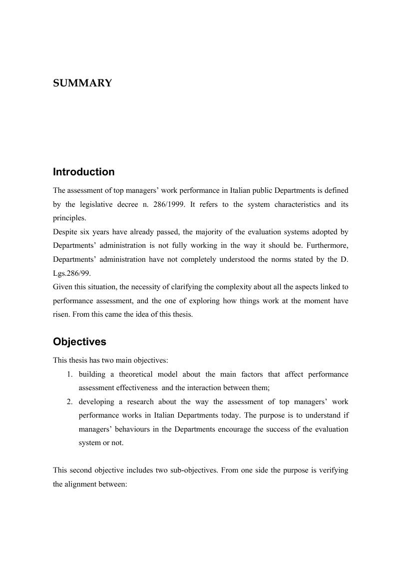 Anteprima della tesi: La valutazione delle prestazioni dei dirigenti nei Ministeri italiani, Pagina 13