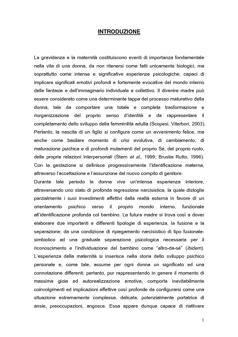 Anteprima della tesi: Psicodinamica della depressione post-partum: uno studio sulla prevalenza e sui fattori di rischio correlati, Pagina 1