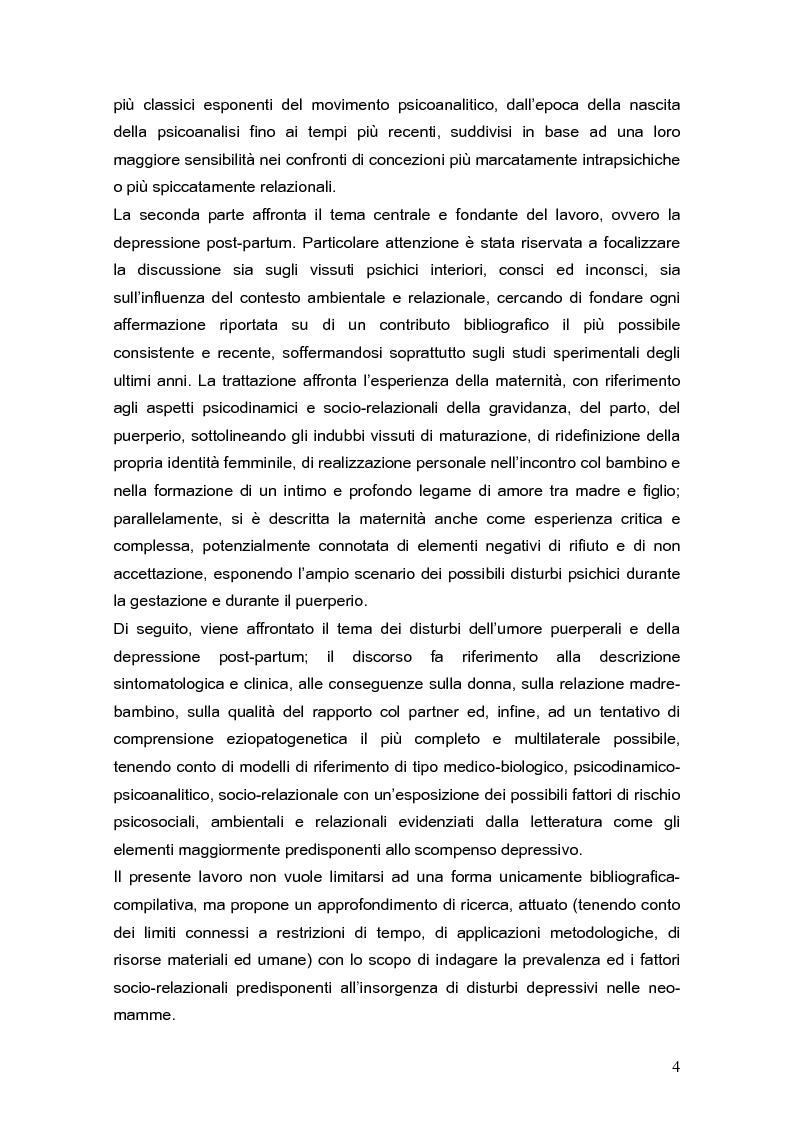 Anteprima della tesi: Psicodinamica della depressione post-partum: uno studio sulla prevalenza e sui fattori di rischio correlati, Pagina 4
