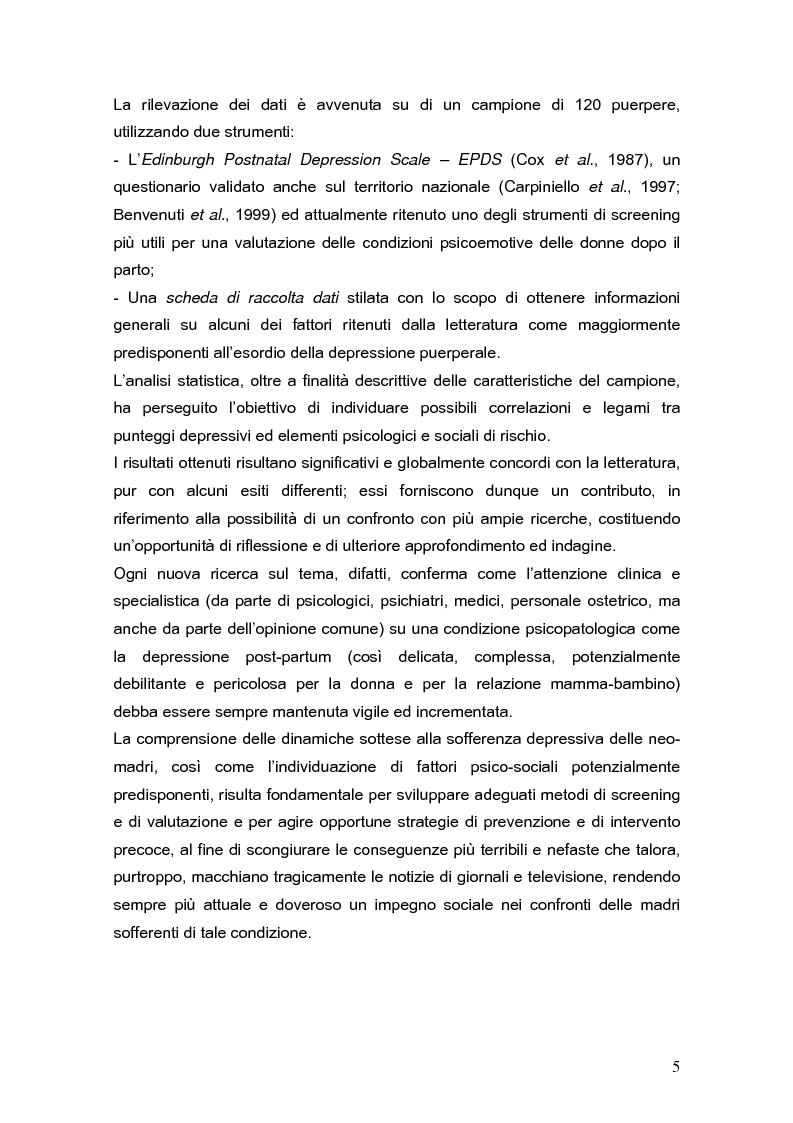 Anteprima della tesi: Psicodinamica della depressione post-partum: uno studio sulla prevalenza e sui fattori di rischio correlati, Pagina 5