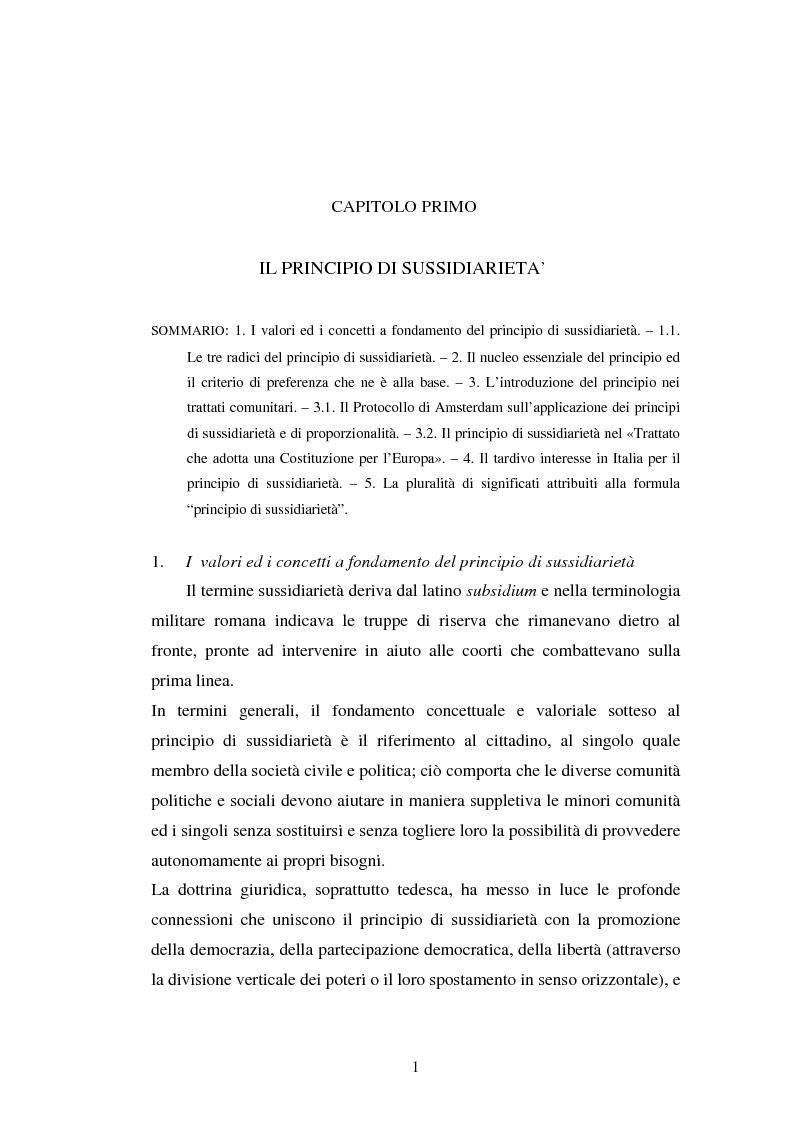 Anteprima della tesi: Competenze amministrative e sussidiarietà, Pagina 1