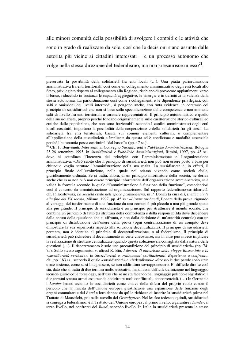 Anteprima della tesi: Competenze amministrative e sussidiarietà, Pagina 14