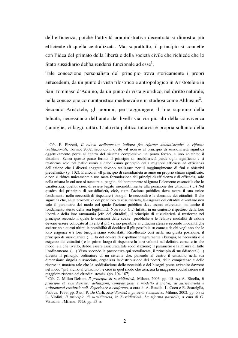 Anteprima della tesi: Competenze amministrative e sussidiarietà, Pagina 2