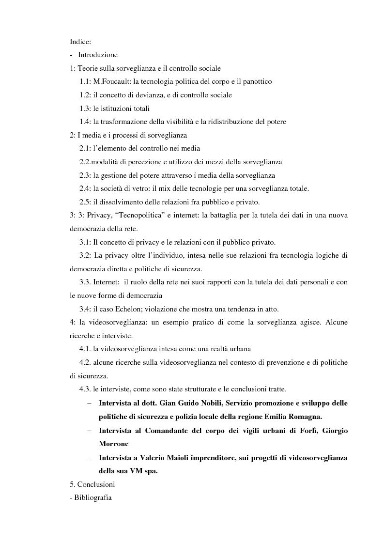 Indice della tesi: Società sorvegliata: i nuovi media, privacy e videosorveglianza come strumenti del controllo sociale, Pagina 1