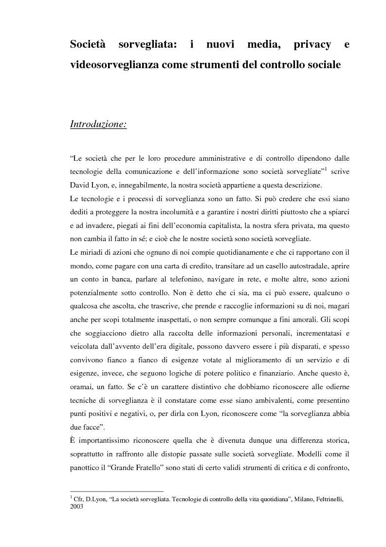 Anteprima della tesi: Società sorvegliata: i nuovi media, privacy e videosorveglianza come strumenti del controllo sociale, Pagina 1