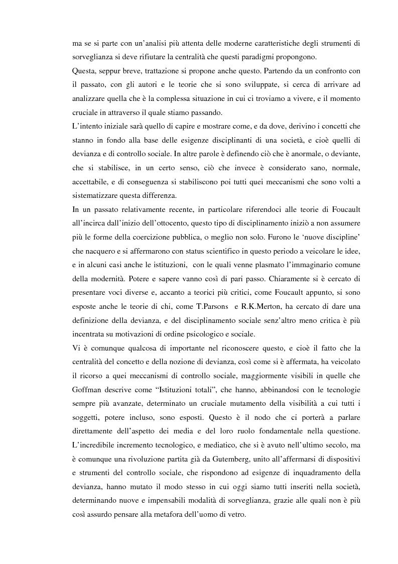 Anteprima della tesi: Società sorvegliata: i nuovi media, privacy e videosorveglianza come strumenti del controllo sociale, Pagina 2