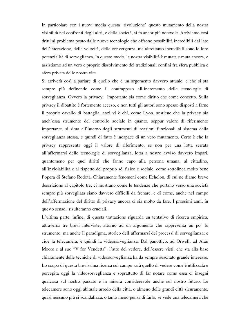 Anteprima della tesi: Società sorvegliata: i nuovi media, privacy e videosorveglianza come strumenti del controllo sociale, Pagina 3