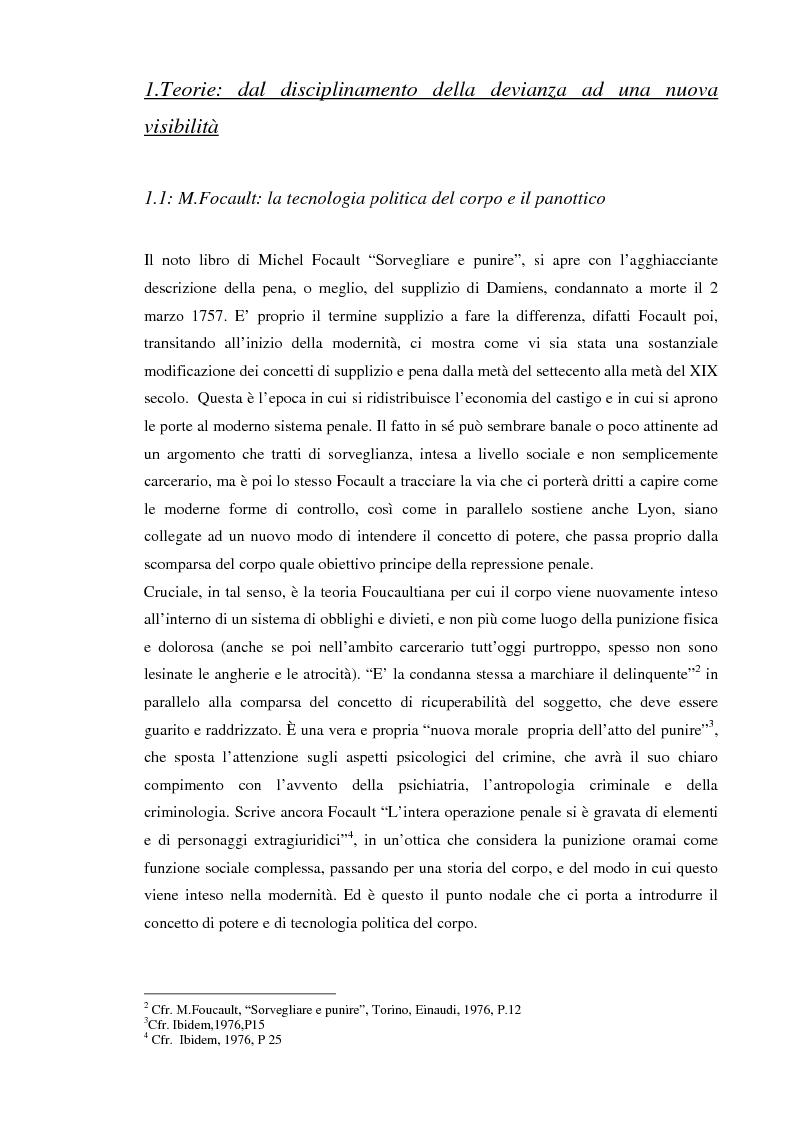 Anteprima della tesi: Società sorvegliata: i nuovi media, privacy e videosorveglianza come strumenti del controllo sociale, Pagina 5