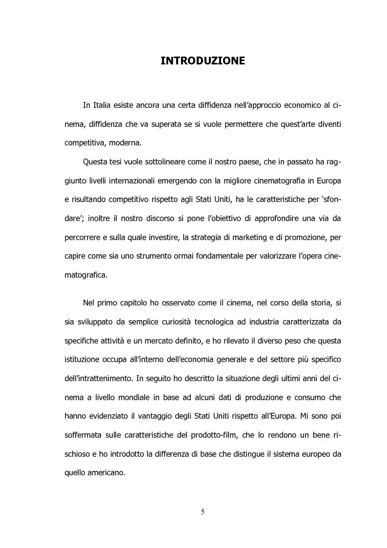 Anteprima della tesi: Il settore cinematografico italiano: prospettive di sviluppo tra industria e istituzioni, Pagina 1