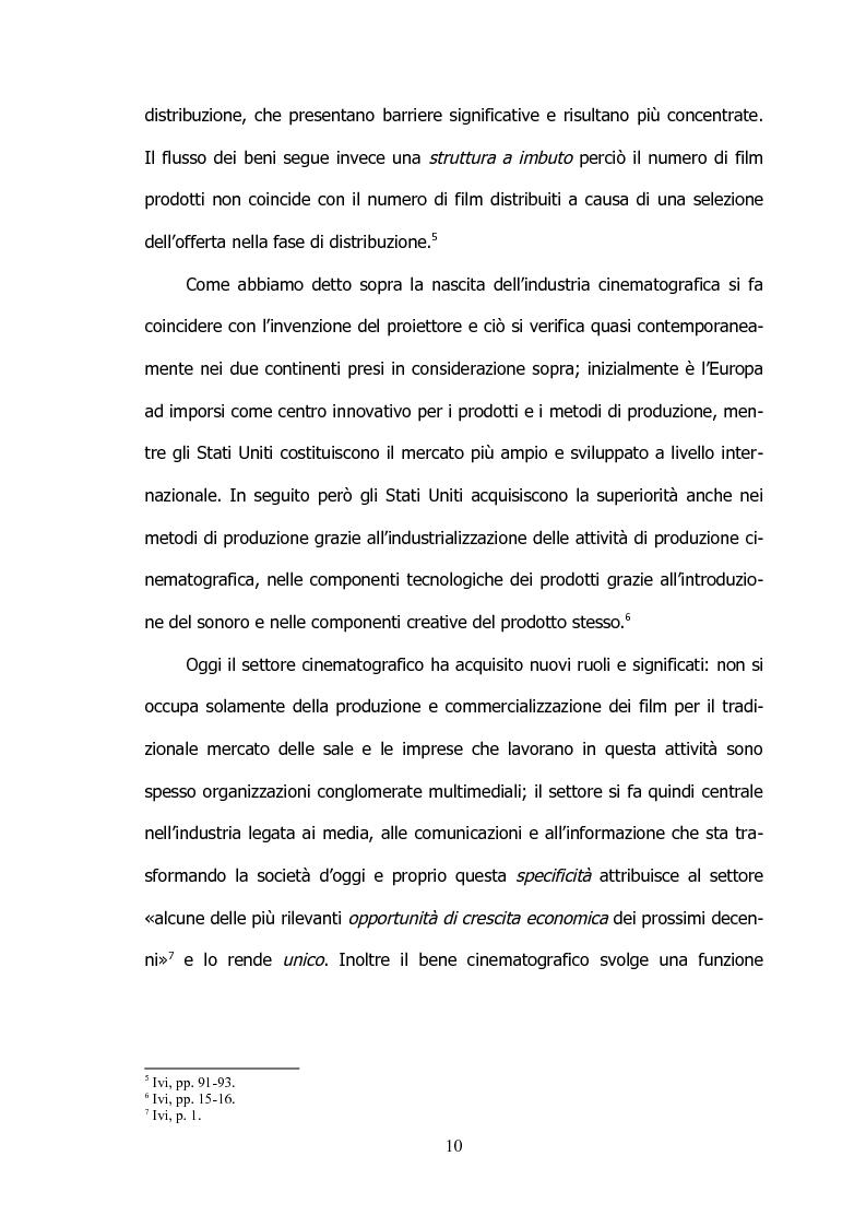 Anteprima della tesi: Il settore cinematografico italiano: prospettive di sviluppo tra industria e istituzioni, Pagina 6