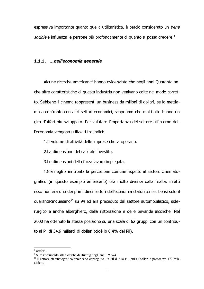 Anteprima della tesi: Il settore cinematografico italiano: prospettive di sviluppo tra industria e istituzioni, Pagina 7