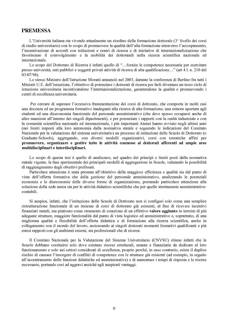 Anteprima della tesi: Le Scuole di dottorato di ricerca: analisi dei modelli e delle problematiche didattico-scientifiche ed amministrative, Pagina 1