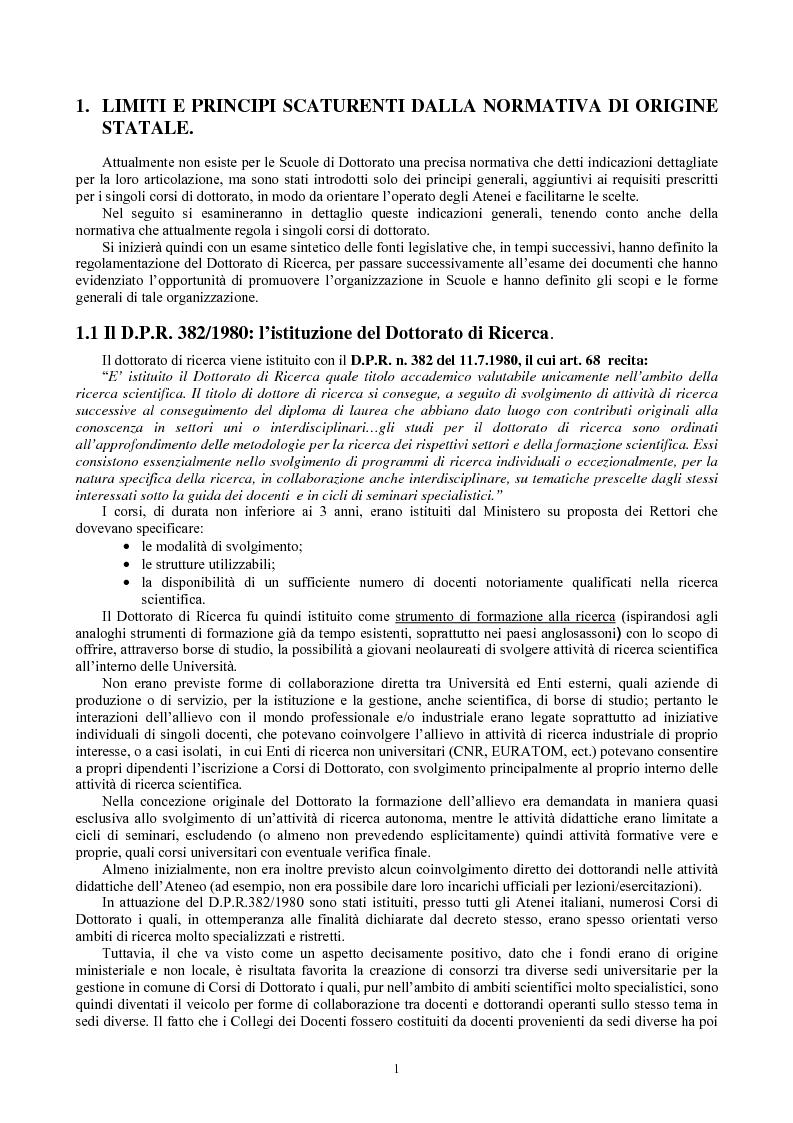 Anteprima della tesi: Le Scuole di dottorato di ricerca: analisi dei modelli e delle problematiche didattico-scientifiche ed amministrative, Pagina 2