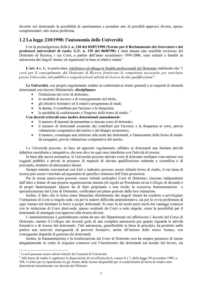 Anteprima della tesi: Le Scuole di dottorato di ricerca: analisi dei modelli e delle problematiche didattico-scientifiche ed amministrative, Pagina 3