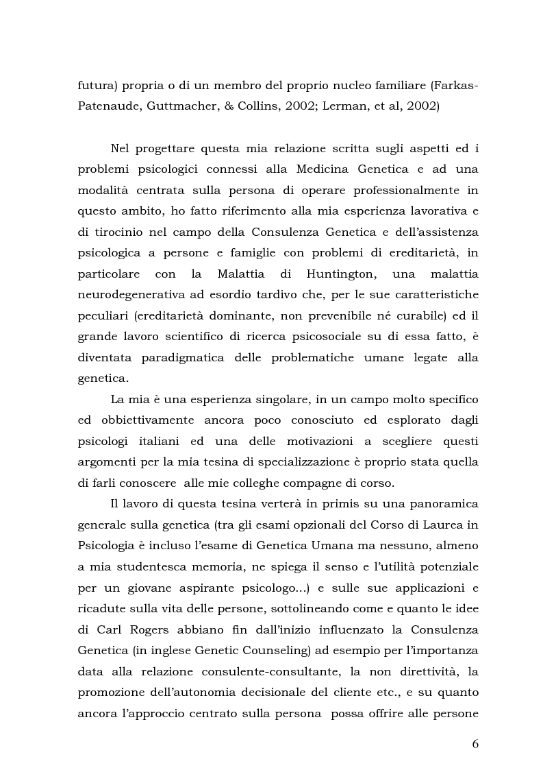 Anteprima della tesi: Psicologia e Medicina Genetica: Promuovere la Salute secondo l'Approccio Centrato sulla Persona, Pagina 4
